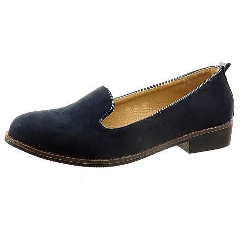 Sopily - Zapatillas de Moda Mocasines Tobillo Mujer Talón Tacón Ancho Alto 2 CM - Azul FRF-5-LX100 T 41: Amazon.es: Zapatos y complementos
