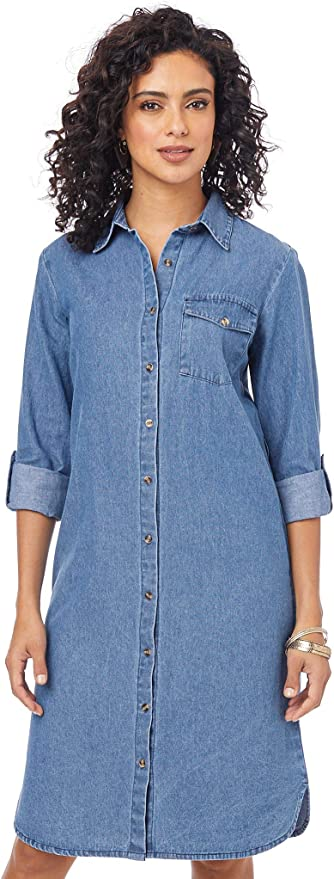 AmeriMark Women's Denim Shirt Dress Long Tunic with Self Tie Belt Button Front