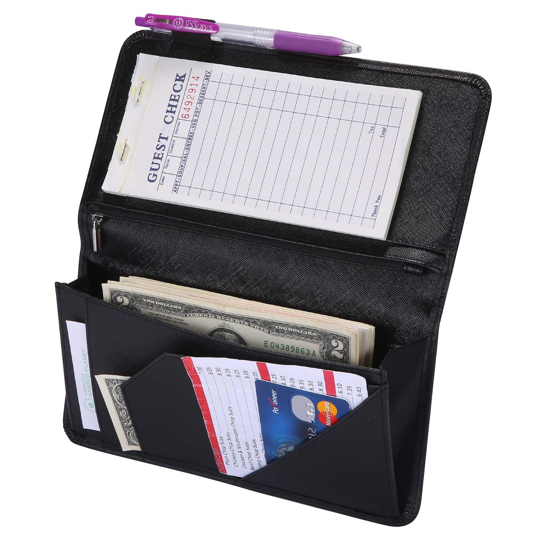 Server Book with Zipper Pocket Waitress Book Restaurant Waitstaff Organizer Fit Server Apron with Money Pocket 5'' X 9'' (Big Volume with Magnetic Closure)