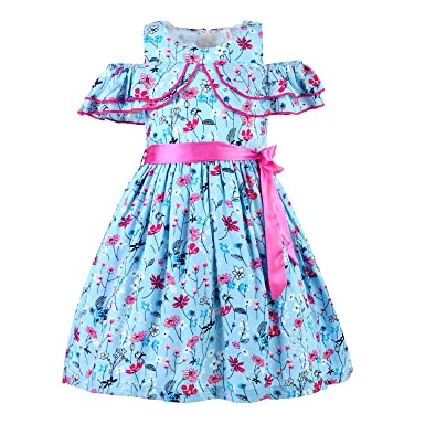 5e516b64e411a Stylo Bug Kids Dress, Short Sleeve Floral Printed Round Neck Dress for  Girls, Blue: Amazon.in: Clothing & Accessories