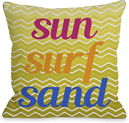 One Bella Casa Sun Surf Sand Chevron Outdoor Throw Pillow by OBC, 18 x 18 , Yellow Multi