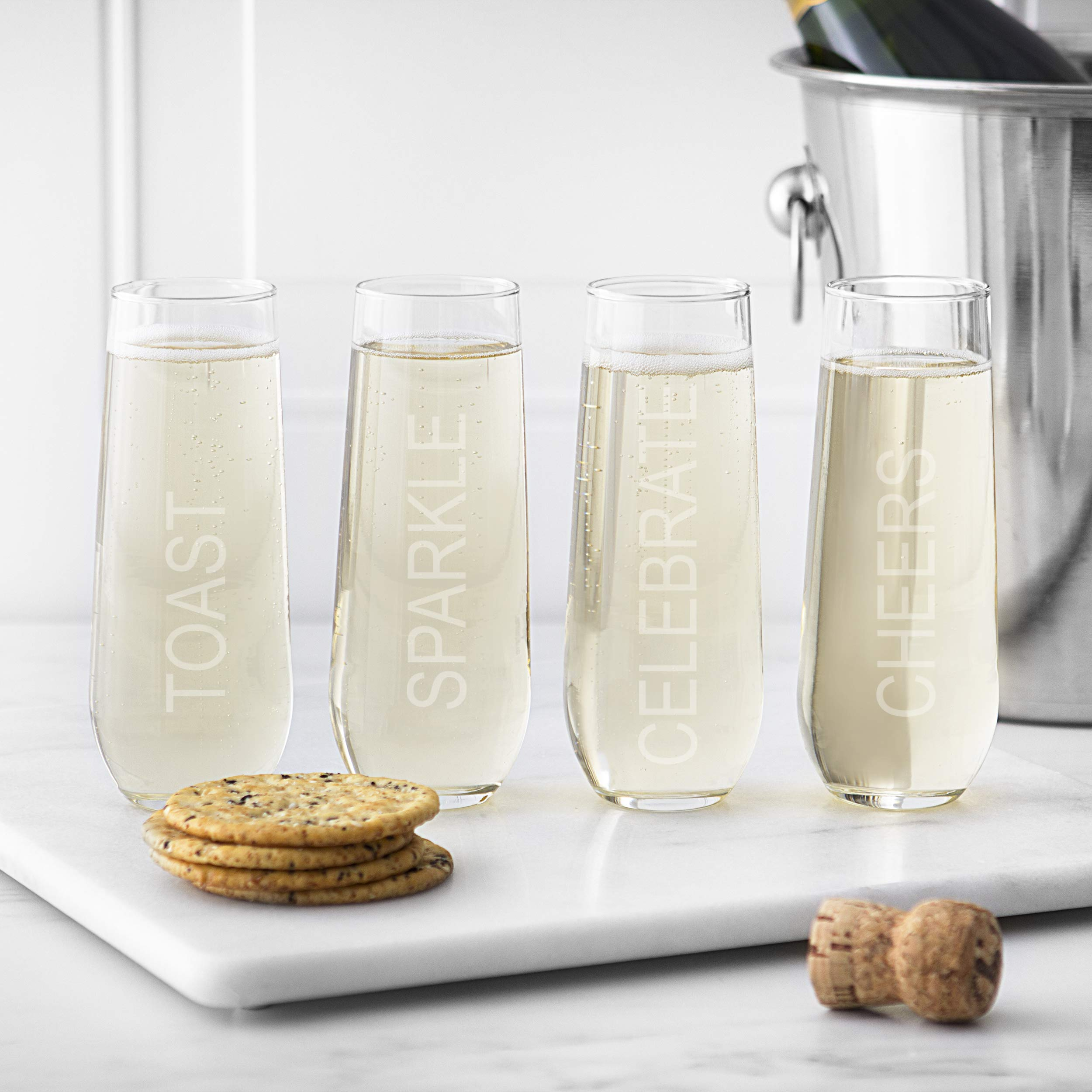 Cathy's Concepts Celebrate Stemless Champagne Flutes - Silver Engraving, 4 Celebratory Sayings, 4-Glass Set