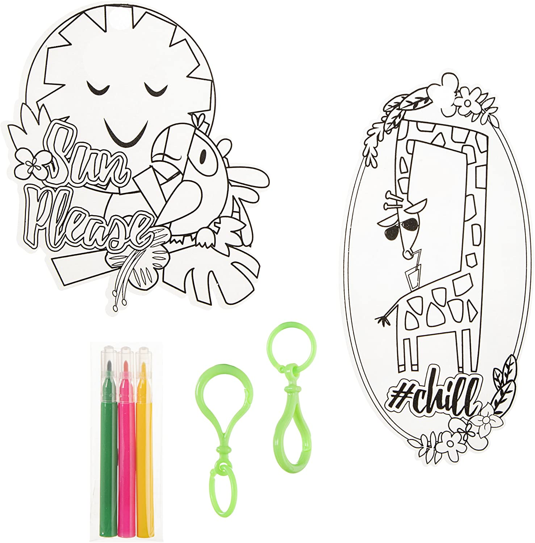 8 Pieces Shrink Art Tropical Multicolor Darice Keychain Kit