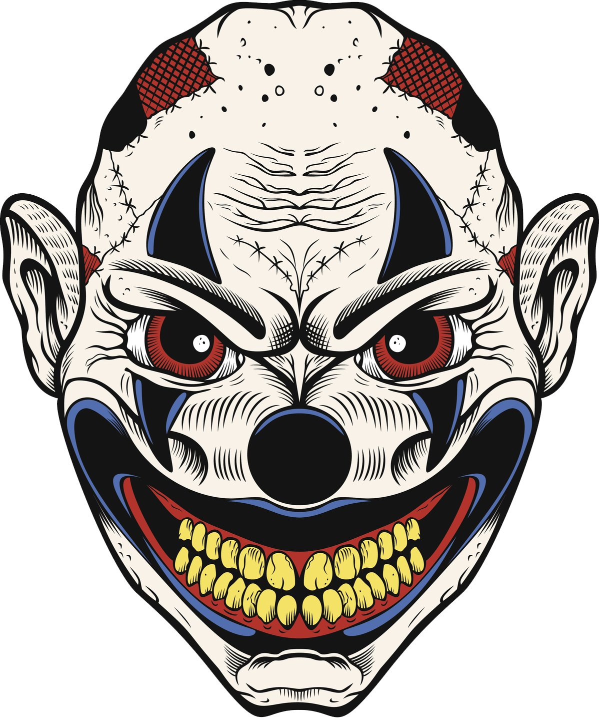 Amazon com creepy scary halloween jester joker clown skull cartoon 2 vinyl decal sticker 12 tall automotive