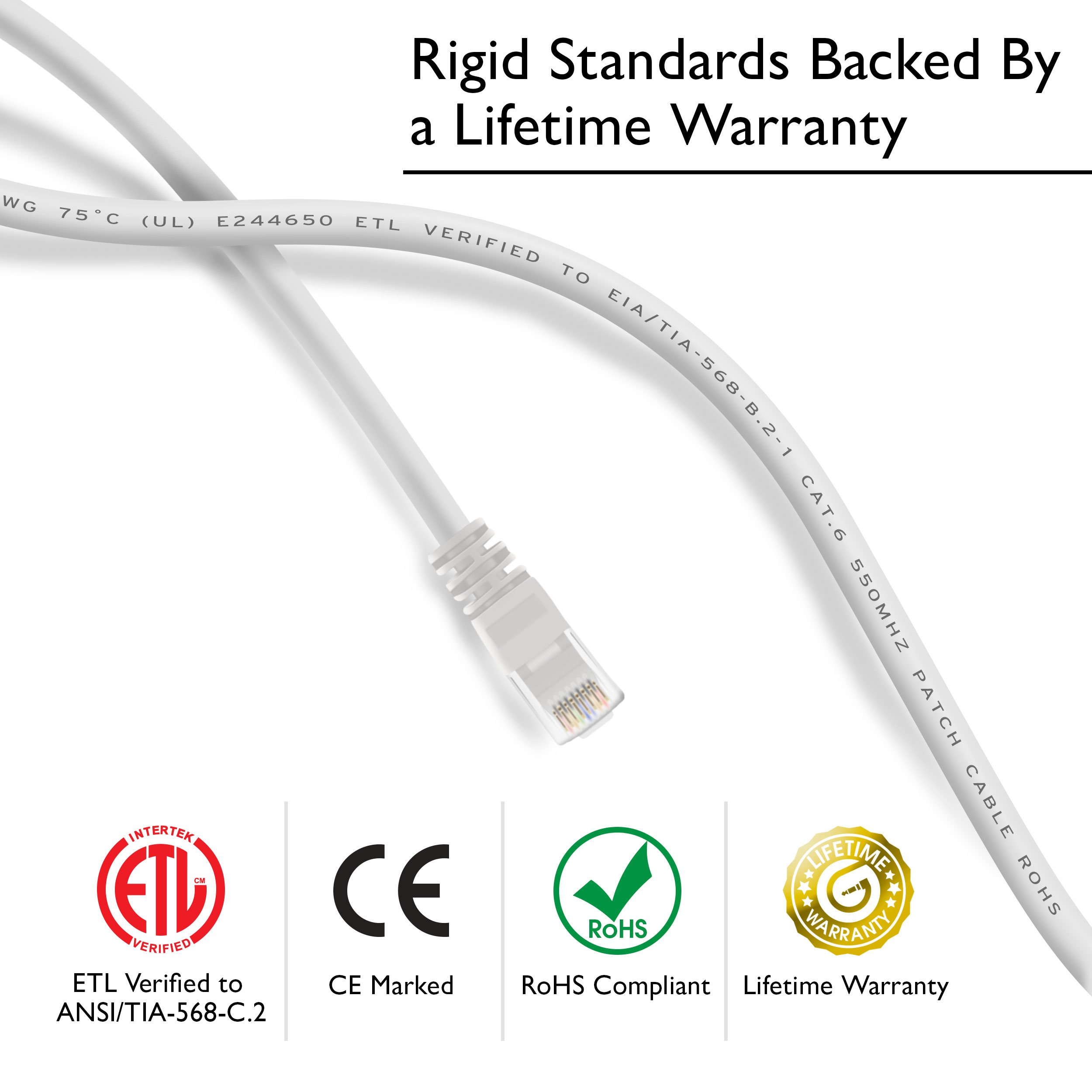 GearIT 100-Pack, Cat 6 Ethernet Cable Cat6 Snagless Patch 3 Feet - Snagless RJ45 Computer LAN Network Cord, White - Compatible with 48 Port Switch POE Rackmount 48port Gigabit by GearIT (Image #3)