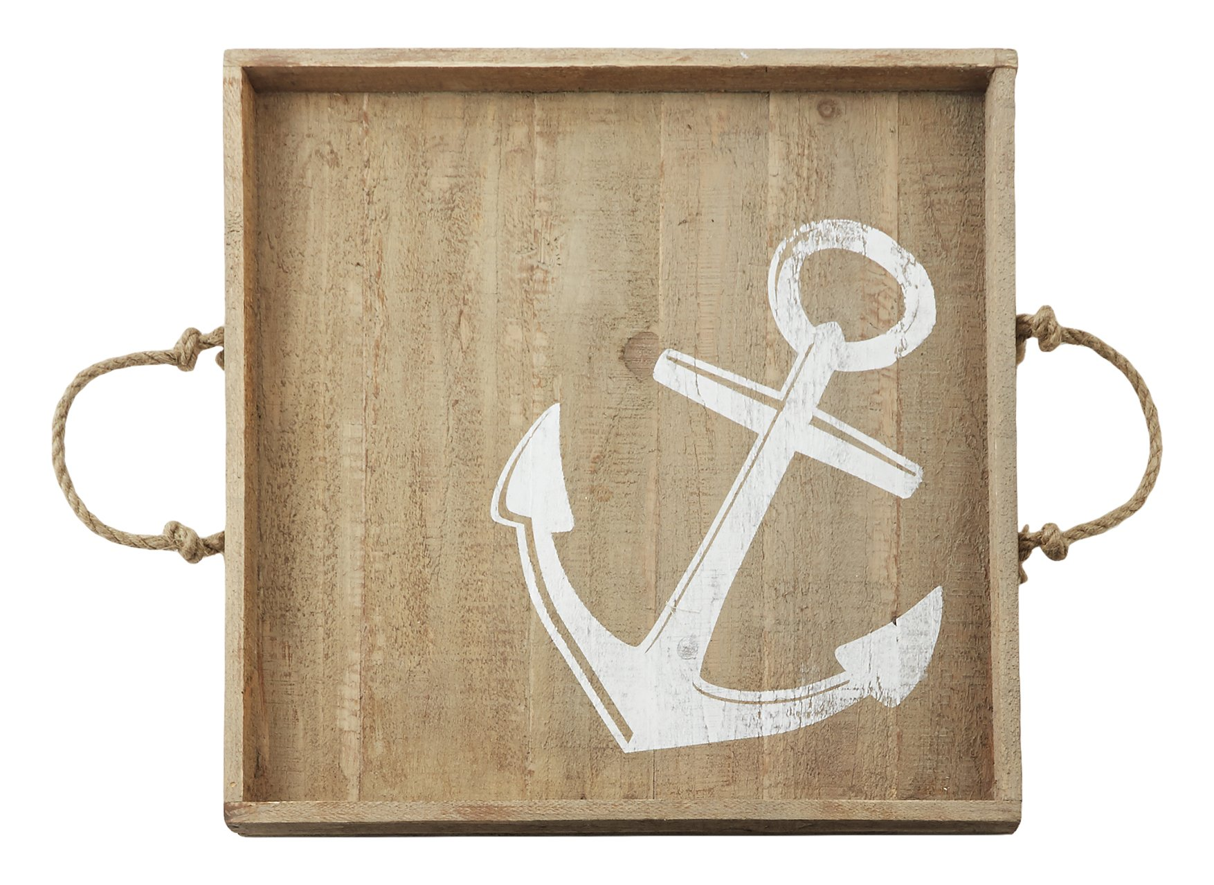 Mud Pie Anchor Wood Tray, Brown