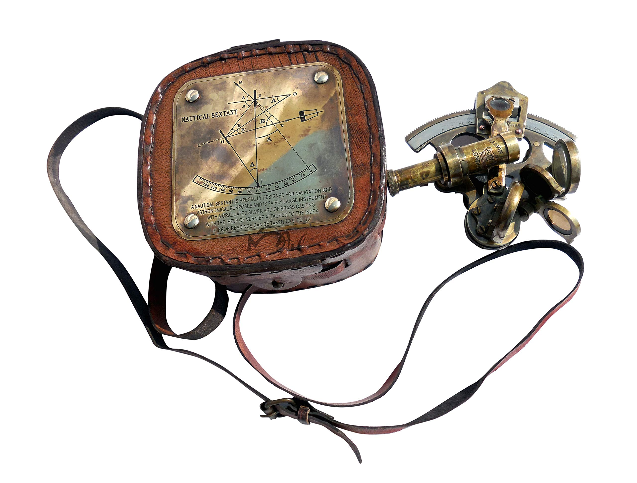 MAH Best Astrolabe Brass Sextant with Leather Box. C-3130 by MAH