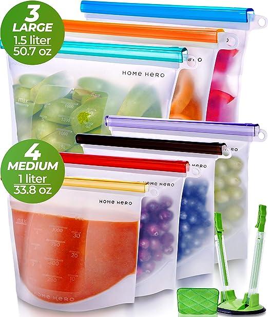 Sin BPA 4 Paquetes de Bolsas Reutilizables de Silicona 1000 ML Bolsa de Almuerzo Higi/énica a Prueba de Fugas 4 Paquetes, 1 Litro JINYJIA Bolsas de Almacenamiento de Alimentos