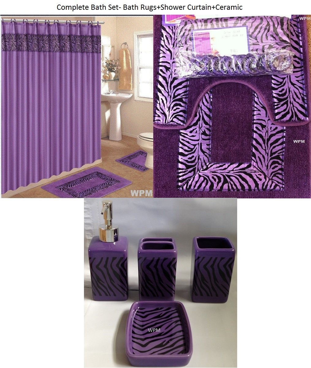19 Piece Bath Accessory Set Purple Zebra Bathroom Rugs & Shower Curtain & Accessories