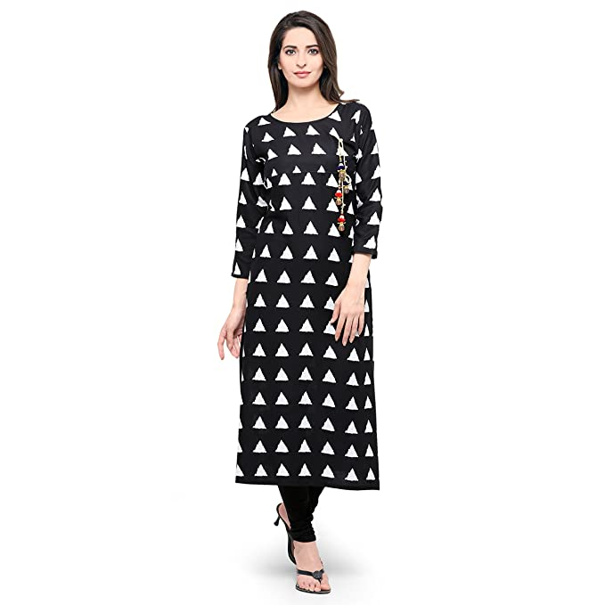 22bd59a15bc Sheknows Black   White Crepe Kurta  Amazon.in  Clothing   Accessories