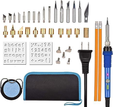 37pcs 60W Wood Burning Kit Set Tool Pen Pyrography Supplies Iron Tips Art Craft