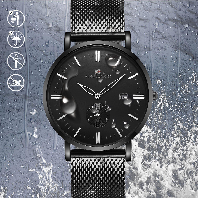 AOKULASIC Herren Fashion Datum Analog Quarz Wasserdicht Armbanduhr mit besonderem zweite Sub Zifferblatt (Schwarz)