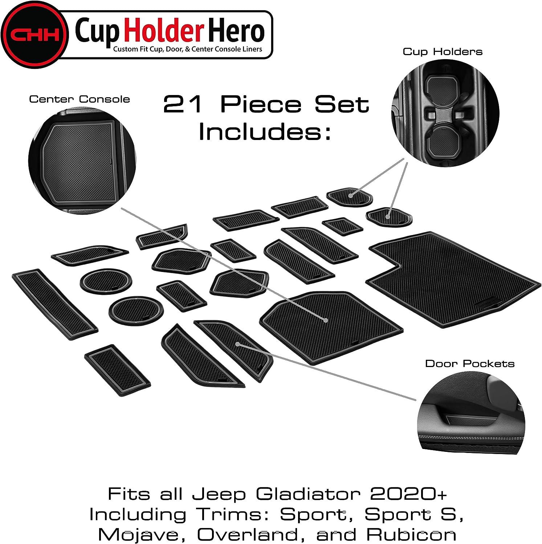 White Trim CupHolderHero for Jeep Gladiator Accessories 2020-2021 Premium Custom Interior Non-Slip Anti Dust Cup Holder Inserts Door Pocket Liners 21-pc Set Center Console Liner Mats