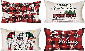 Ouddy Christmas Pillow Covers 12x20, 4 Pack Buffalo Plaid Check Lumbar Throw Pillow Covers, Linen Cushion Cases Oblong Pillowcase for Sofa Bedroom Home Christmas Decor