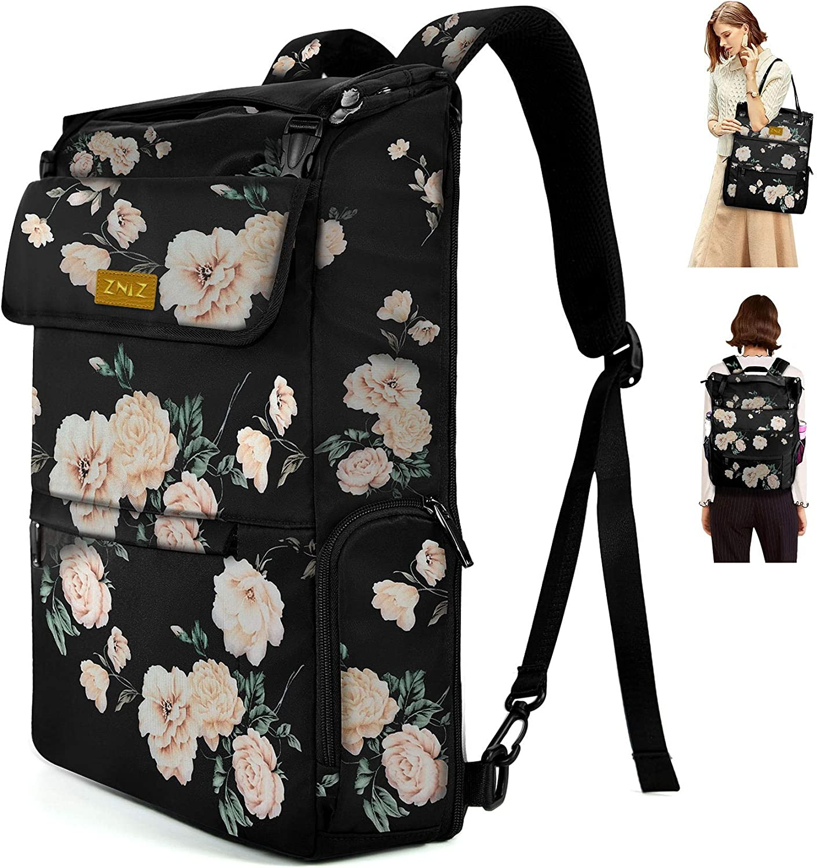 Slim & Expandable 17 Inch Laptop Backpack Shoulder Casual Bag, Large Capacity Water-Repellent Multipurpose Notebooks Bag, College School Bookbag Gifts for Men & Women,(12.5L-32L) Peony