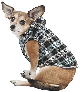 Pet Fashion Moda Mascota Plaid con Capucha Abrigo para Perro, pequeño, Color Azul: Amazon.es: Productos para mascotas