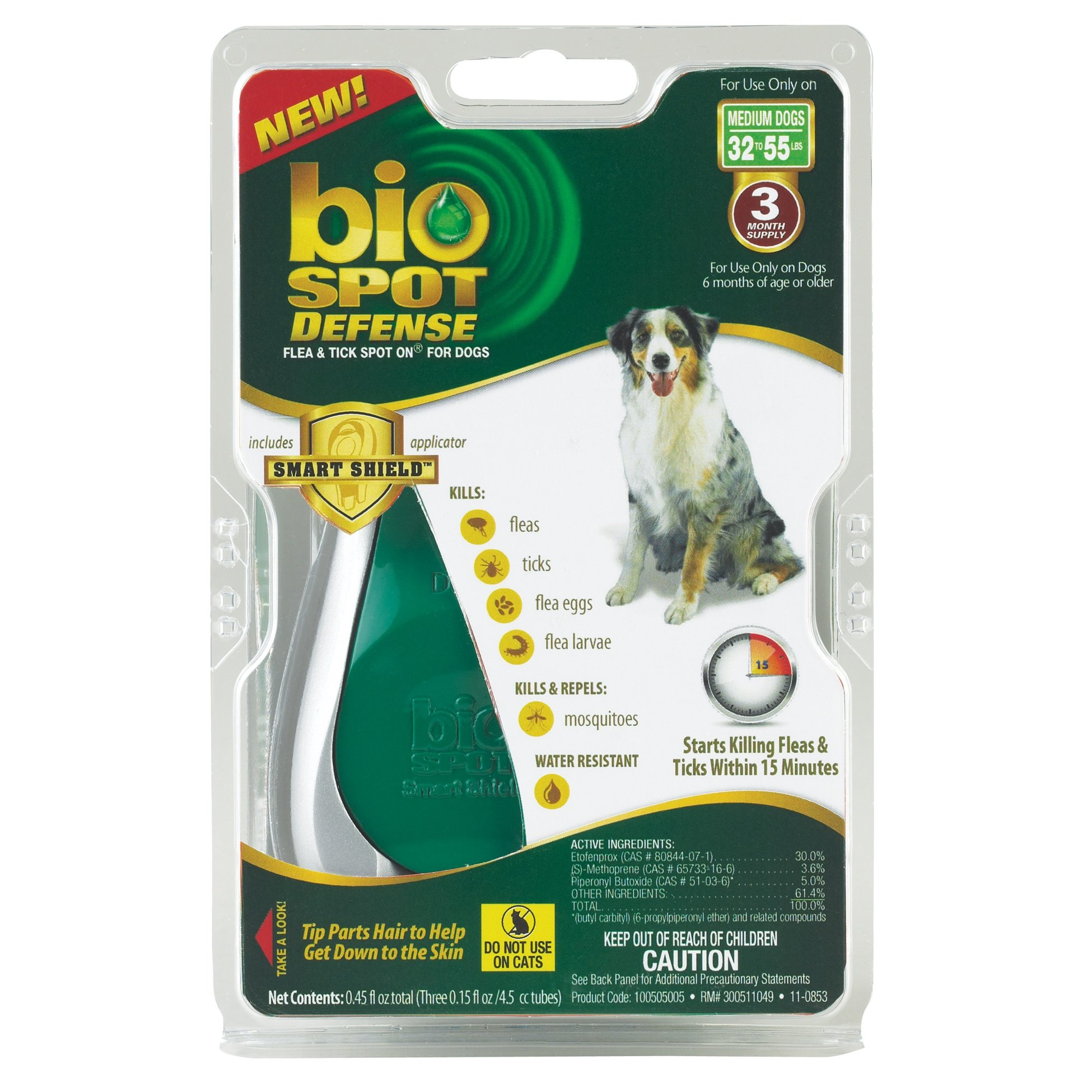Bio Spot Defense Flea and Tick Spot On with Applicator for Dogs 32-55-Pound- 3 Month Supply