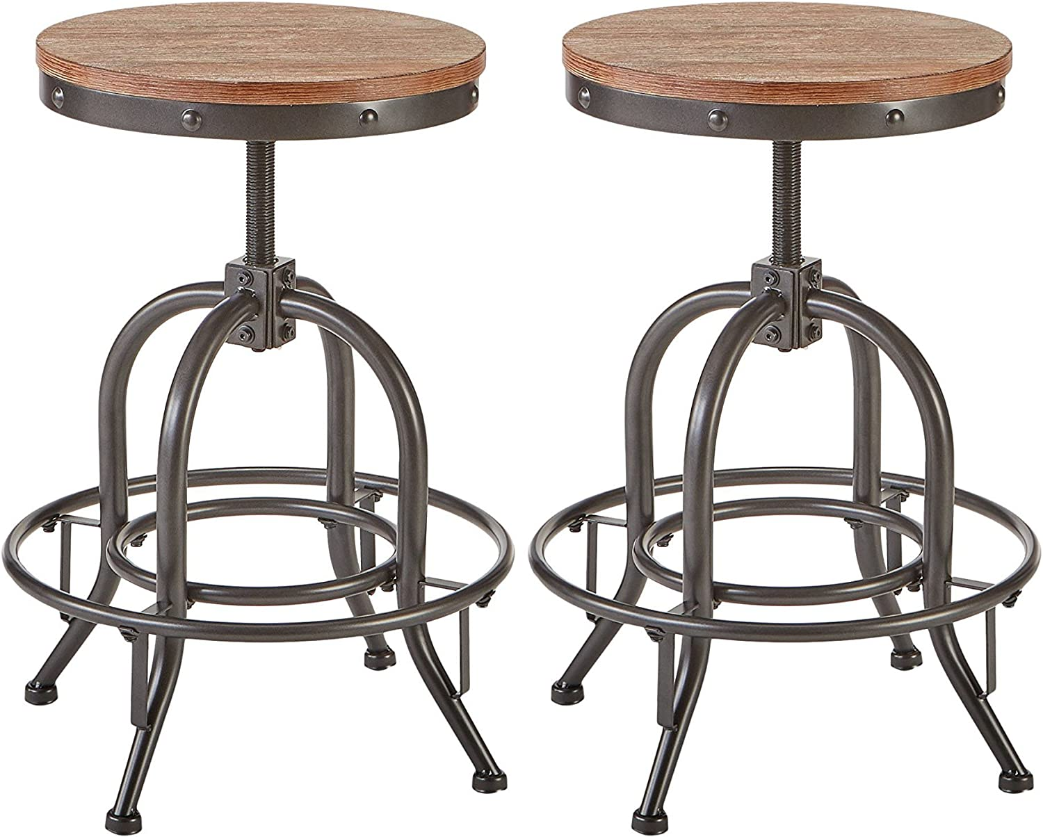 Ashley Furniture Signature Design – Pinnadel Swivel Bar Stool – Counter Height – Set of 2 – Light Brown