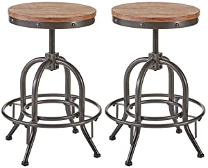 Pioneer Square Dane Metal-and-Wood Counter-Height Swivel Bar Stool, Set of 2 - Bold Brandy