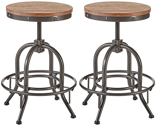 Pioneer Square Dane Metal-and-Wood Counter-Height Swivel Bar Stool, Set of 2 – Bold Brandy