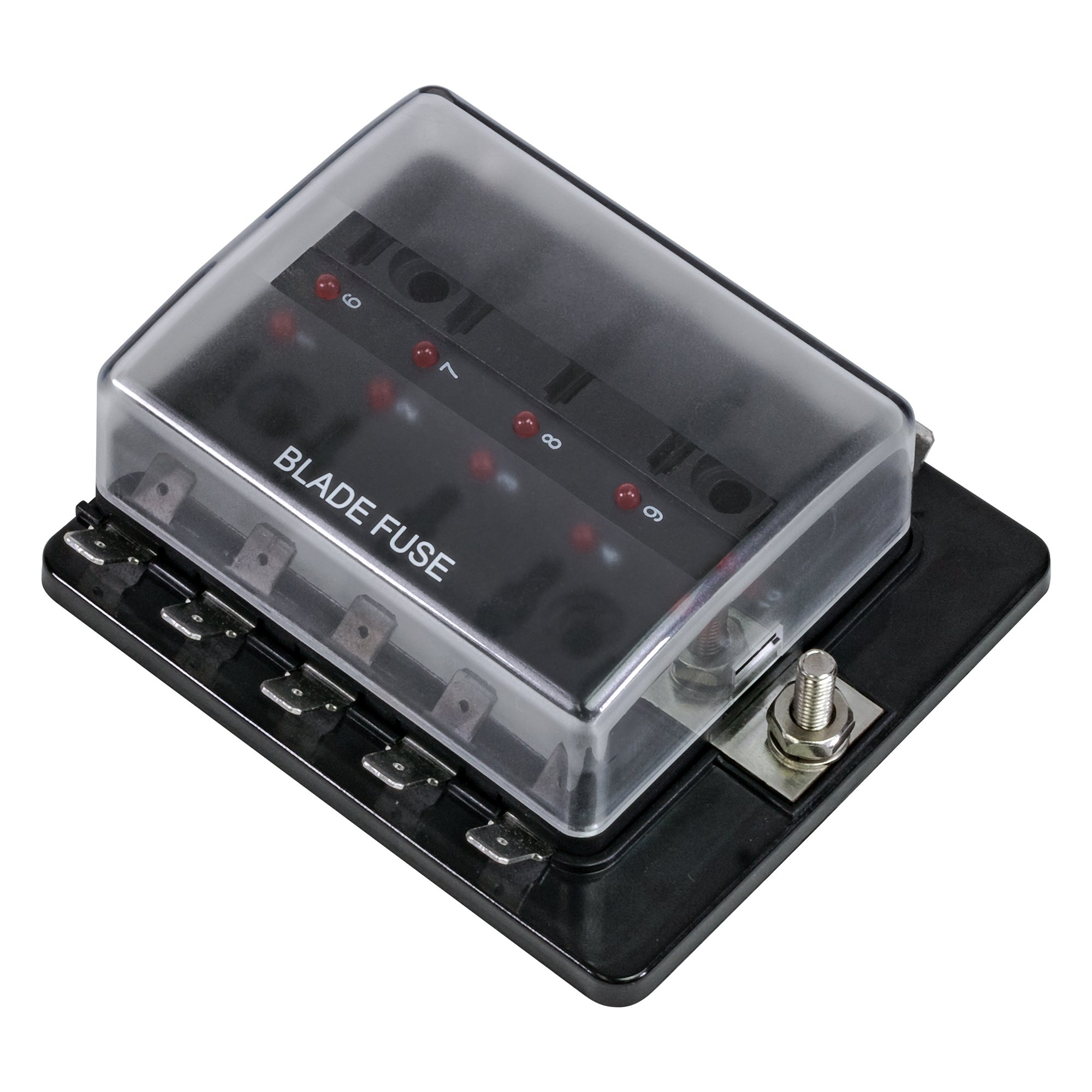 ONLINE LED STORE 10-Way Blade Fuse Box [LED Indicator for Blown Fuse]