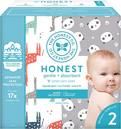 76 Count Size 2 Good Vibes Only The Honest Company The Honest Company Club Box Diapers with Trueabsorb Technology