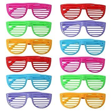 THE TWIDDLERS 50 Gafas de Persianas - Plástico Duro - Colores Surtidos - Ideal para Disfraces - Regalos de Fiesta - Rellenos para Bolsas de Fiesta - ...