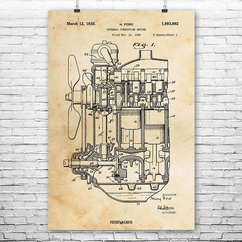 Henry Ford Internal Combustion Engine Poster Patent Art Ufo Diagram Print Vintage Paper 8 X 10 Posters Prints