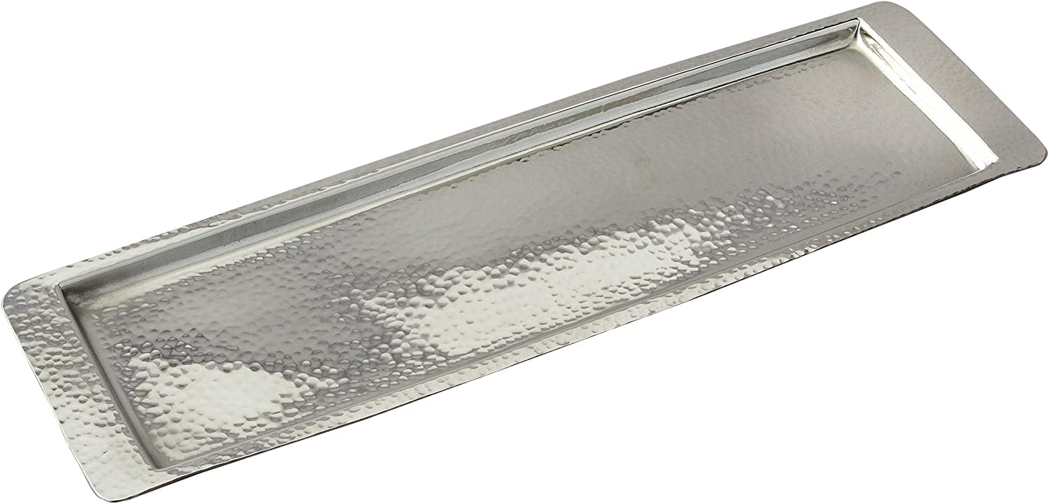 Elegance Stainless Steel Hammered Rectangular Tray, Medium 17.75 by 5.5-Inch, Silver