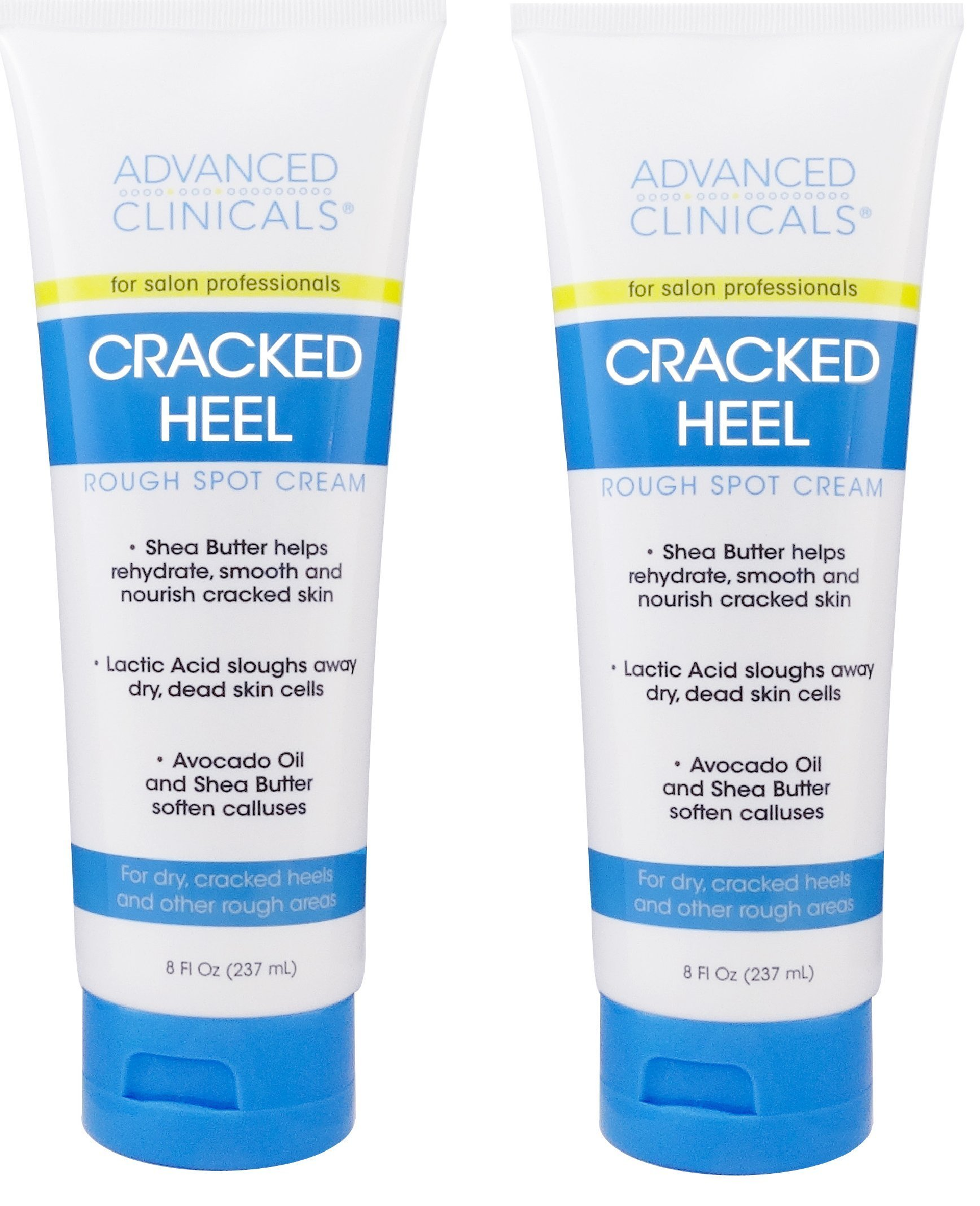 Advanced Clinicals Cracked Heel Cream for dry feet, rough spots, and calluses. (Two - 8oz) by Advanced Clinicals