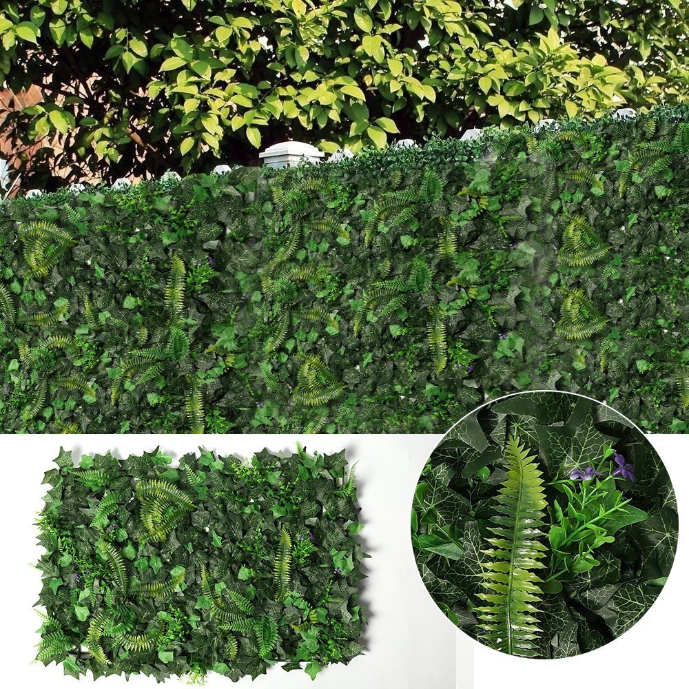 JUSTOYOU Ivy Leaf Hedge Artificial Privacy Fence Screen Expanding Boxwood Panel for Wall Garden Outdoor Indoor Decor 40x60cm (Ivy Hedge A) J-ZWQ