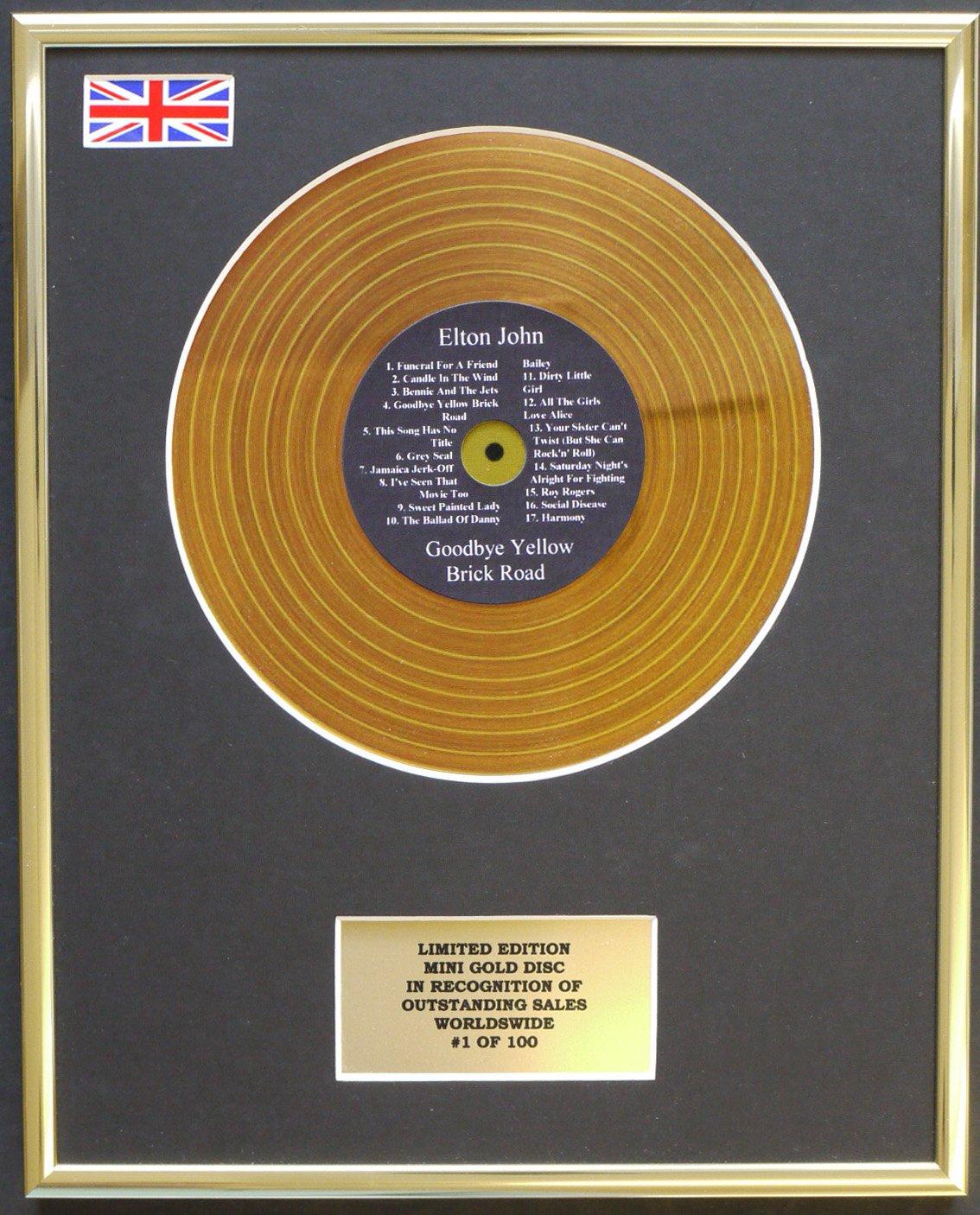 ELTON JOHN/MINI GOLD DISC DISPLAY/LIMITED EDITION/COA/GOODBYE YELLOW BRICK ROAD Everythingcollectible