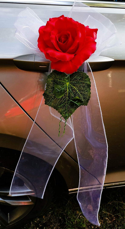 AMP D/écoration de Porte en Organza avec Rose D/écoration de Voiture Lot de 2 Orange