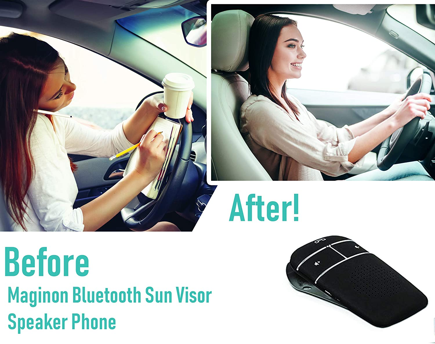 Amazon.com: Maginon Bluetooth Car Sun Visor Speakerphone Clip on Kit for iPhone and Android Smart Phones Safe Hands Free Calling While Driving: Home Audio & ...