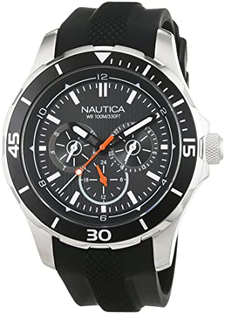 NAUTICA MENS NST 10 44MM SILICONE BAND STEEL CASE QUARTZ WATCH NAI13523G