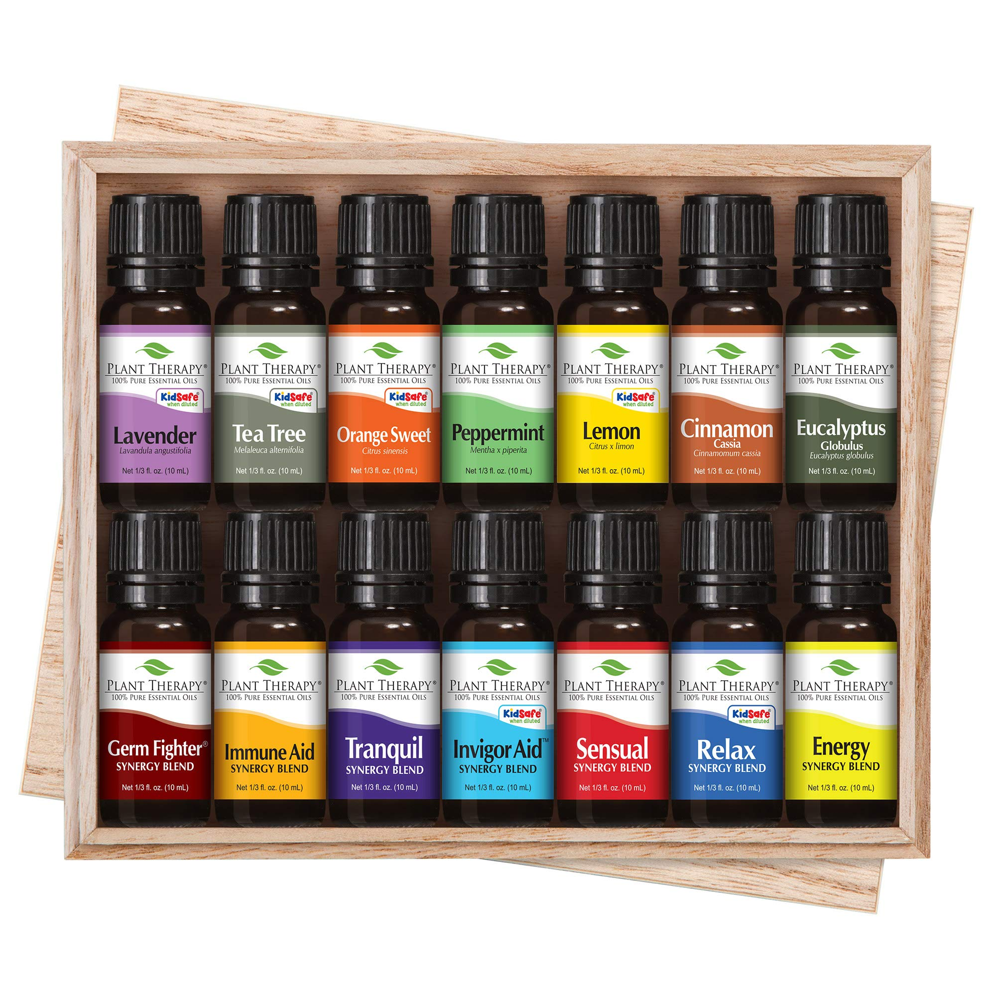 Plant Therapy 7 & 7 Essential Oilss Set 7 Single Oils: Lavender, Peppermint & More, 7 Synergy Blends in A Wooden Box 100% Pure, Undiluted, Natural Aromatherapy, Therapeutic Grade 10 mL (1/3 oz) by Plant Therapy