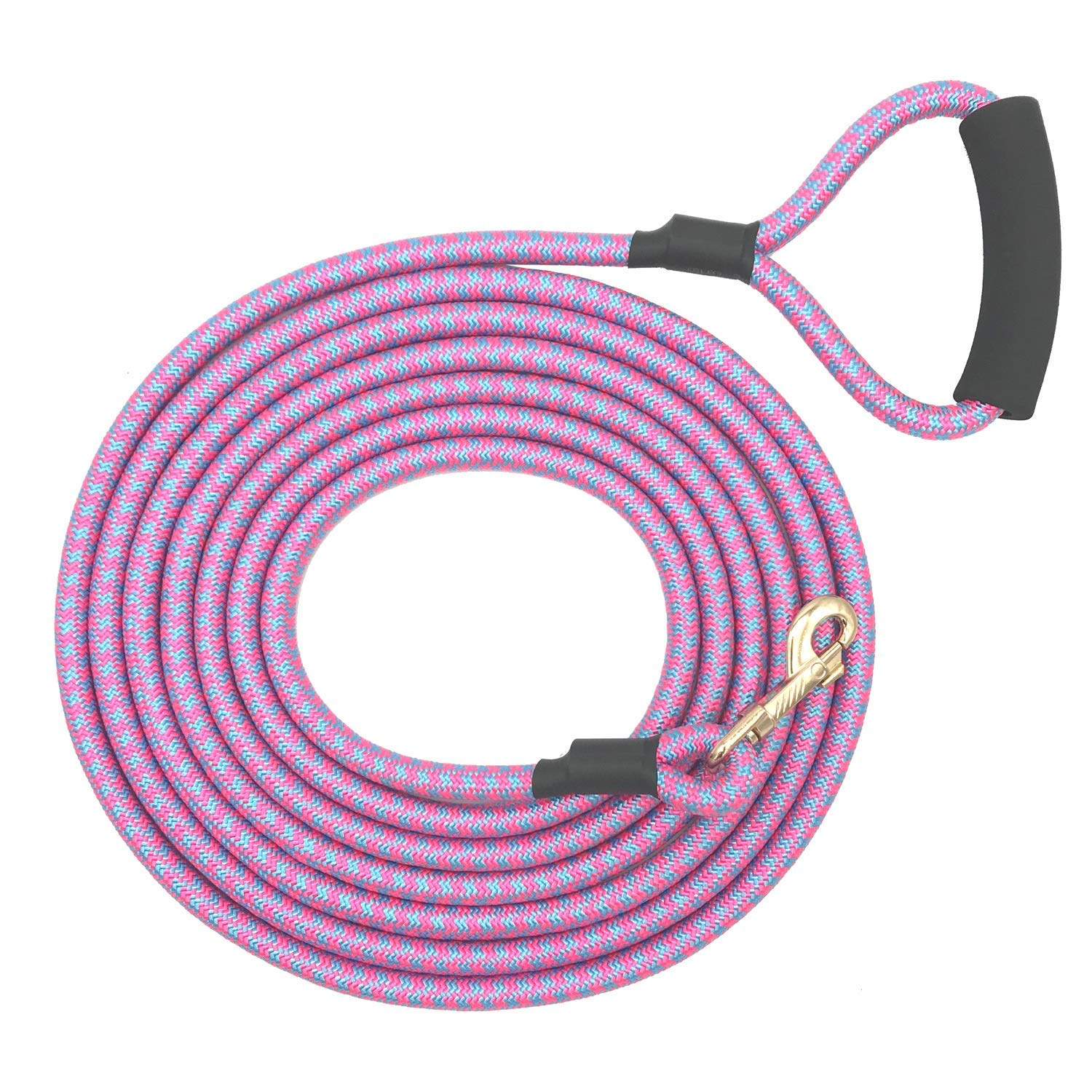 Nylon Strong Dog Rope Lead Leash Training Dog Lead with Soft Handle 6-20 FT Long Pink bluee (Dia 0.5  15FT)