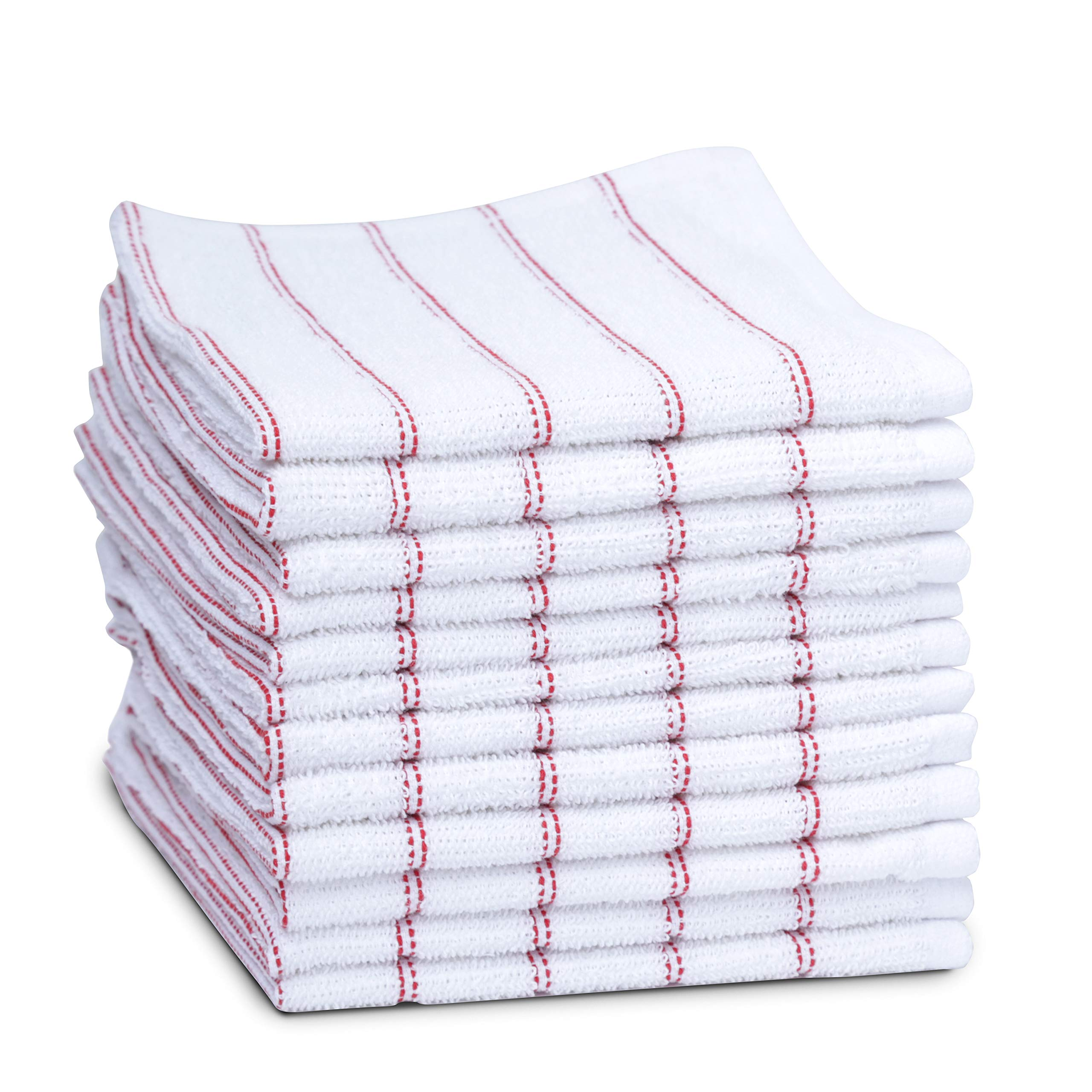 maspar Dish Towels, 100% Cotton, 12 x12 inch, White with Red Stripe, Terry, Woven, Absorbent, Quick Dry, Chemical Free, Machine Washable, 12 Pack Set by maspar