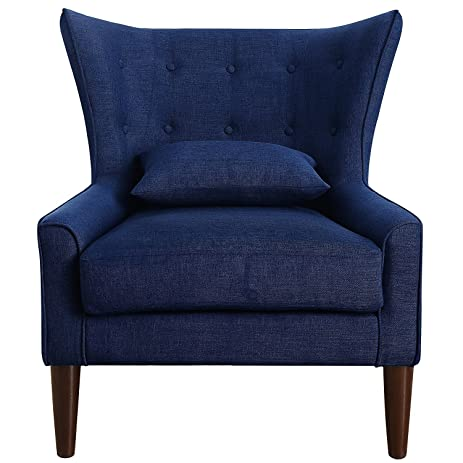 rosevera c15 4 liviana tufted wingback chair with back cushion multiple colors navy - Tufted Wingback Chair