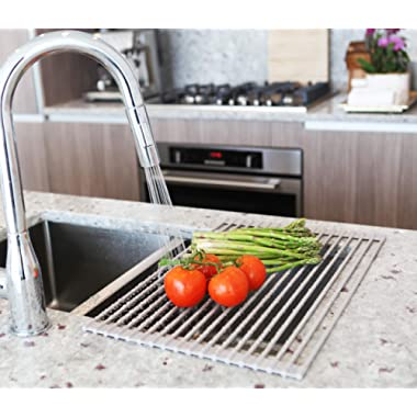 Roll Up Sink Drying Rack by MagnaLecta – Multipurpose Over the Sink Silicone Coated Stainless Steel Self Draining Roll-Up Dish Rack Holder, Foldable, Heat Resistant, Easily Adjustable(Warm Gray,Large)