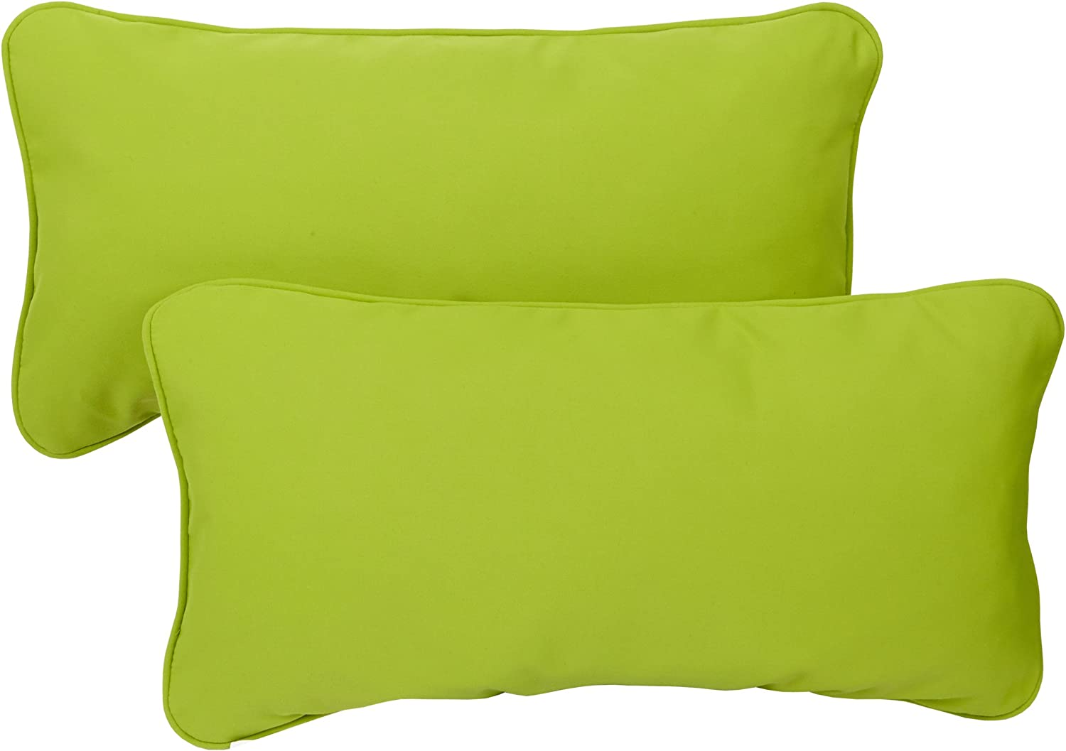 Mozaic Company Sunbrella Indoor/ Outdoor 12 by 24-inch Corded Pillow, Macaw Green, Set of 2