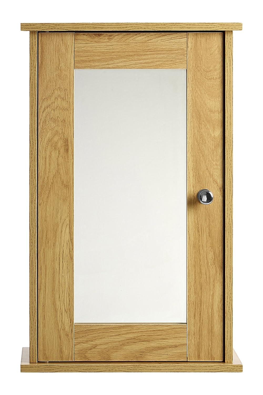 Premier Housewares Portland Mirror Wall Cabinet - Oak 2404030 PREM-2404030_Natural