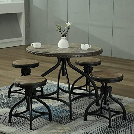 Modern Bar Counter Height Table Stool Kitchen Breakfast Adjustable Solid  Wood Dining Set (Table +