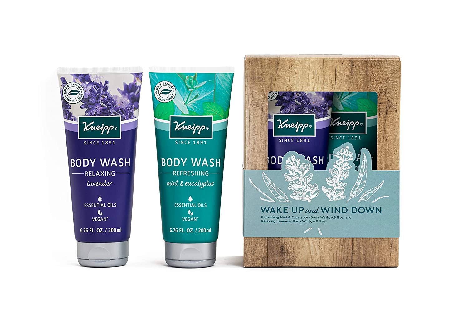 Kneipp Wake Up and Wind Down Lavender and Mint & Eucalyptus Body Wash Set