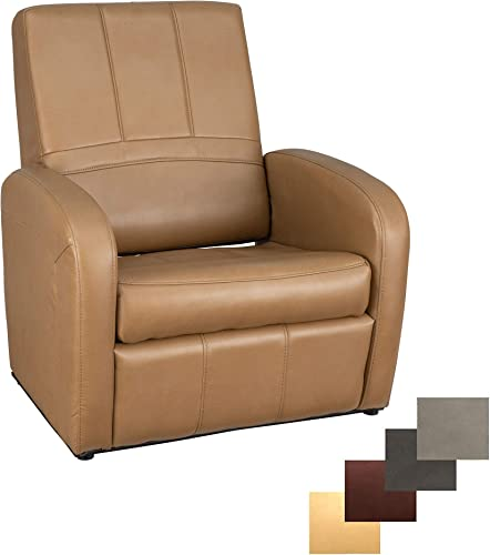 RecPro Charles RV Gaming Chair Ottoman Conversion Built-in Storage RV Furniture Great for Teens Toffee