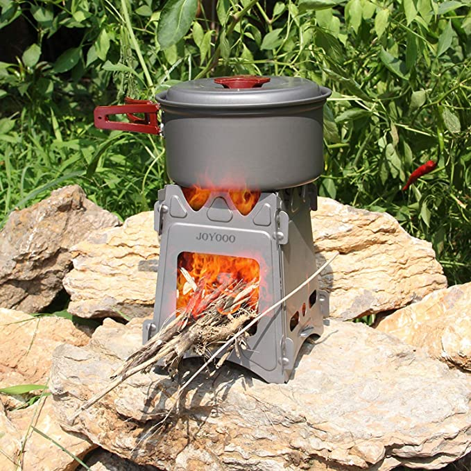 Hornillo Acampada,Estufa de Leña Portátil Ligero Plegable de titanio Mechero de Alcohol Hornillo de Bolsillo Cocina Picnic Camping Aire Libre (...