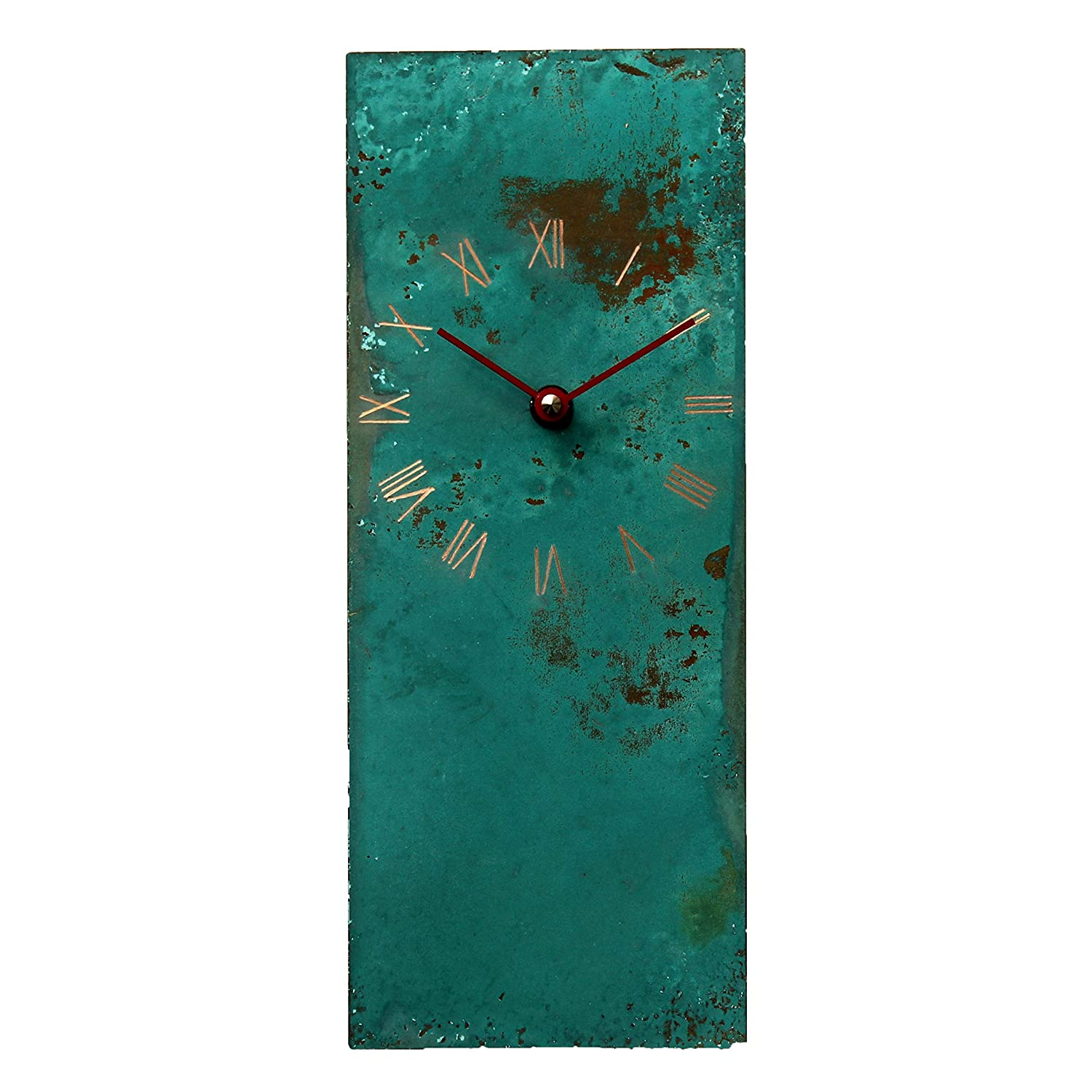 Turquoise Copper Rustic Rectangle Wall Clock 12-inch - Silent Non Ticking Gift for Home/Office/Kitchen/Bedroom/Living Room
