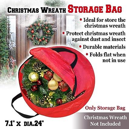 Benefitusa Heavy Duty Christmas Wreath Storage Bag For 24 Inch Wreaths