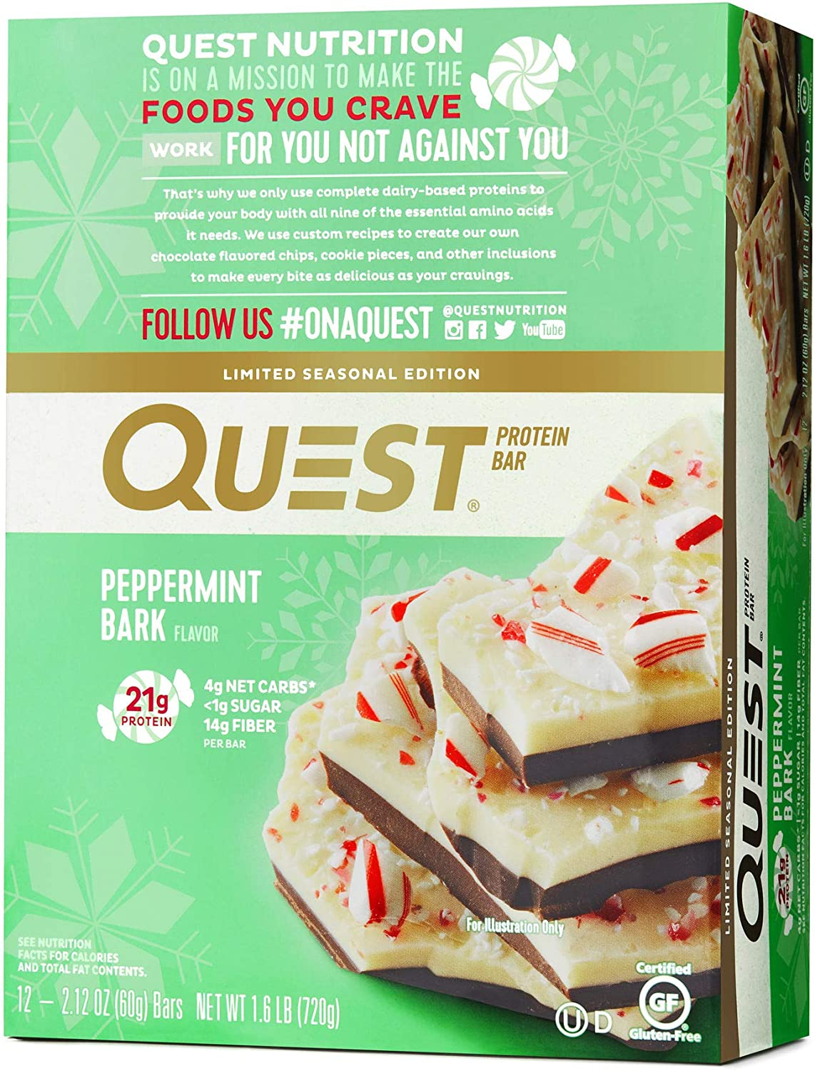 Quest Nutrition Protein Bar, Peppermint Bark, 12 Count