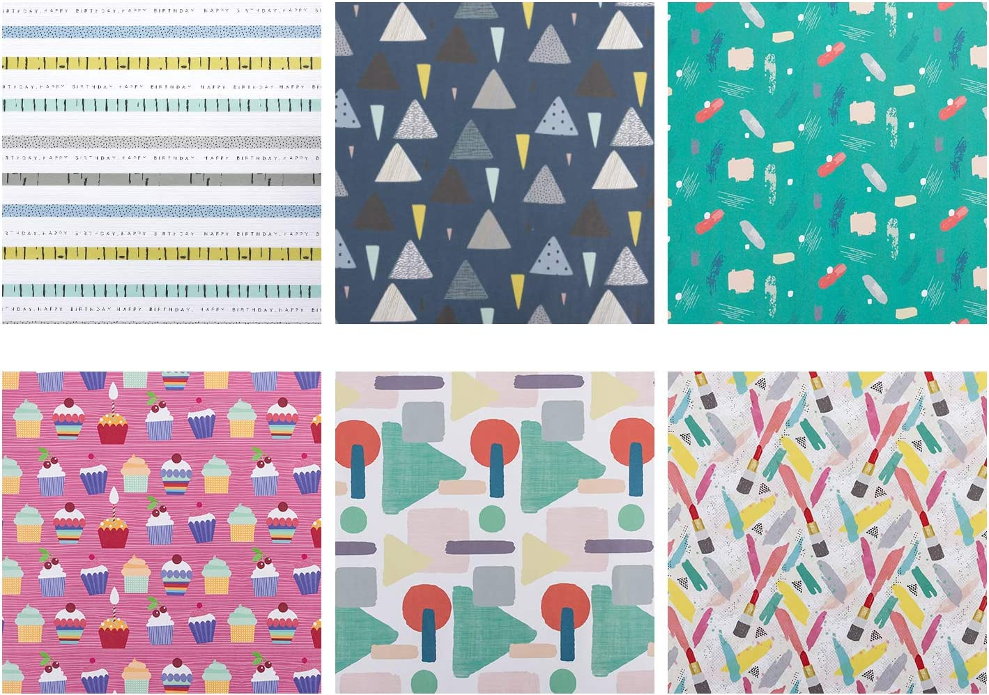 Herts RUSPEPA Gift Wrapping Paper Sheets 6 Folded Sheets-50CM X70CM Dots Stripe Colorful Wrapping Paper